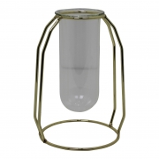 House Vitamin Tube Vase In Holder Gold