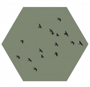 Label R Muur Hexagon Birds Olijfgroen