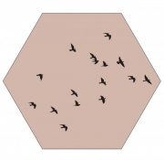Label R Muur Hexagon Birds Oudroze